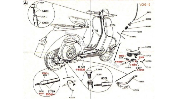 Gaines, câbles, serres-câbles et pédale de frein