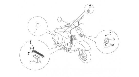 Batterie, klaxon et relais