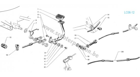 Pédale de frein arrière - Système à câble