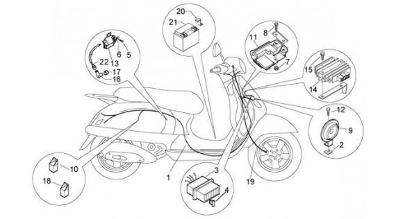 Faisceau, régulateur, batterie, klaxon, relais, bobine haute tension