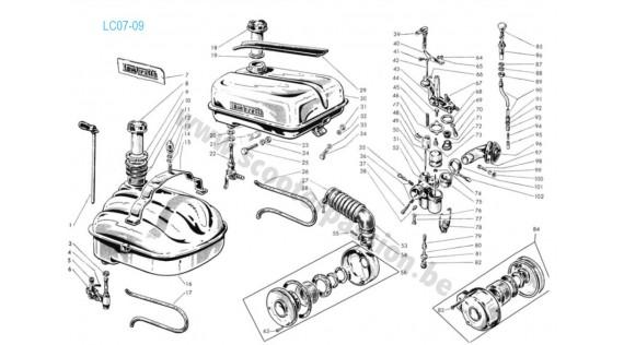Réservoir, carburateur et robinet