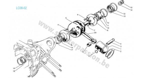 Vilebrequin et piston Lambretta TV 175