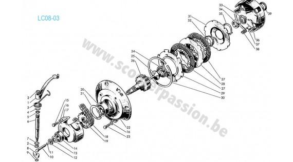 Embrayage et pignon de transmission avant Lambretta TV 175
