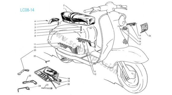Emblèmes, garnitures, autocollants et selle Lambretta TV 175