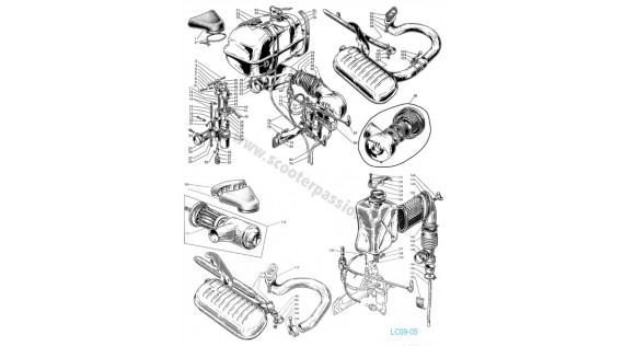Réservoir, échappement et carburateur  Lambretta Serie 1 LI 125-150