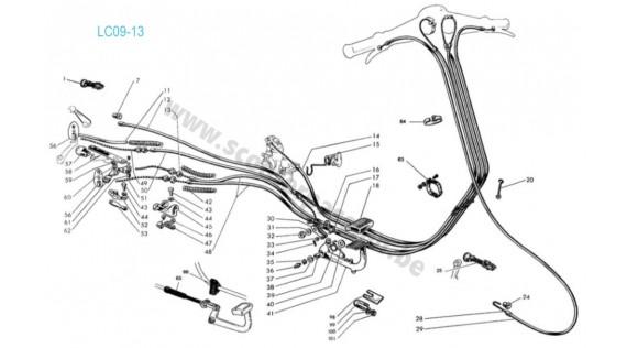Gaines, câbles et fixation  Lambretta Serie 1 LI 125-150