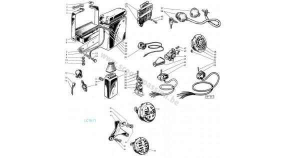 Commutateur, klaxon, boîtier de connexion et bougie