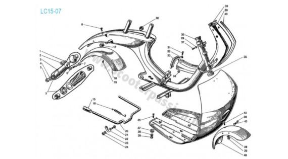 Carrosserie, châssis, amortisseur arrière et béquille