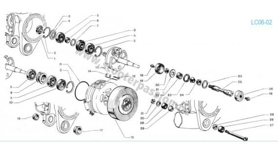 Roulements vilebrequin et axe fixation moteur Lambretta 125 D, LD 125 1952 à 1954