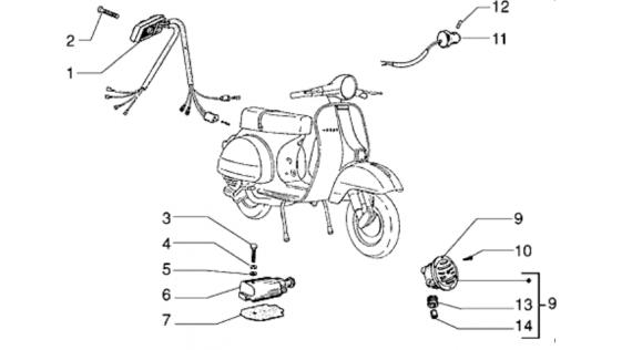 Commutateur, klaxon et contacteur de frein