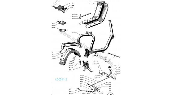 Châssis, tablier, béquille et pédale de frein