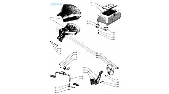 Selle arrière, boîte à gants et porte-roue réserve