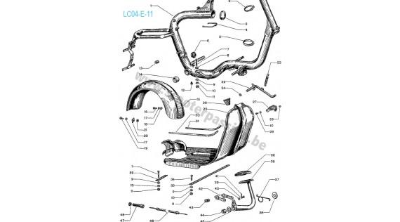 Châssis, béquille, garde-boue arrière et pédale de frein