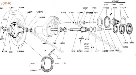 Boîte de vitesses, pignon élastique, moyeu et frein arrière